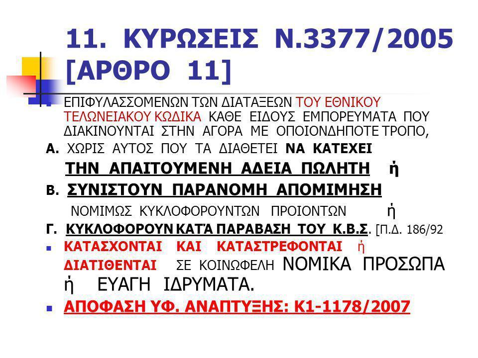 11. ΚΥΡΩΣΕΙΣ Ν.3377/2005 [ΑΡΘΡΟ 11]